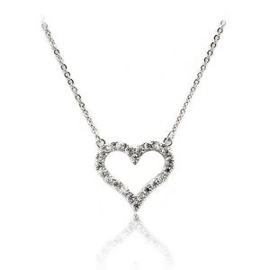 Lovely silver crystal heart necklace
